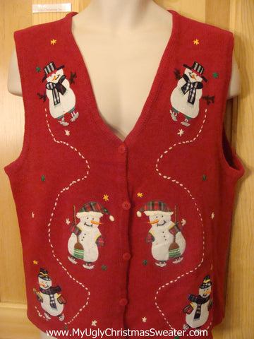 Melting Snowman 2sided Funny Christmas Sweater Vest