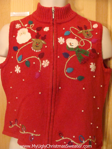 Santa Reindeer and Pearl Bling Funny Christmas Sweater Vest