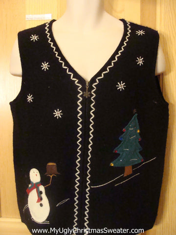 Confused Hatless Snowman Funny Christmas Sweater Vest