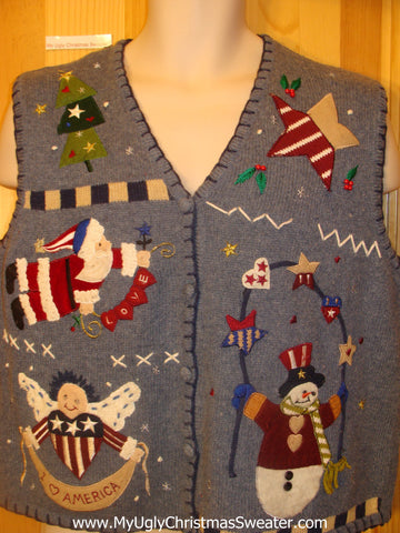 Patriotic USA Lovefest Funny Christmas Sweater Vest