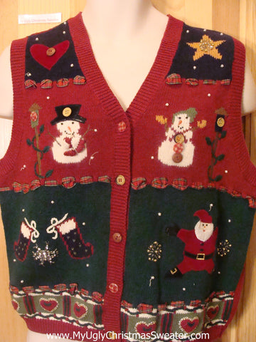 Snowmen and Crafty Hearts Funny Christmas Sweater Vest