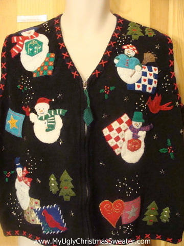 Quits and Snowmen Crafty Funny Christmas Sweater Vest