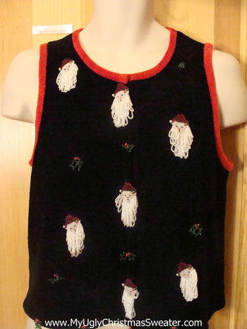 Horror Show 3d Yarn Santas Funny Christmas Sweater Vest