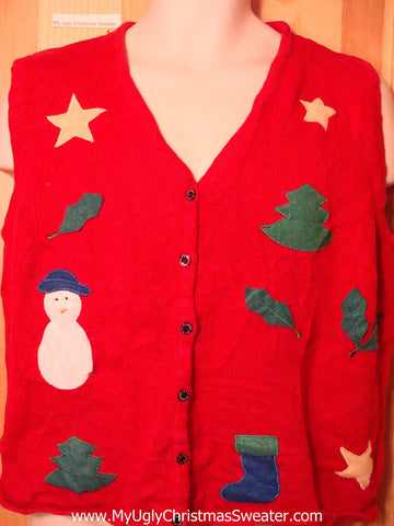 Tacky Ugly Christmas Sweater Vest Simple Festive Designs (f269)