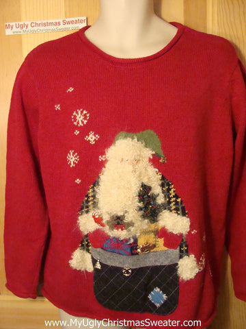 Tacky Ugly Red Christmas Sweater Horrid Santa with Fluffy Beard (f26)