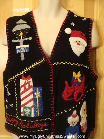 Cheesy Christmas Jumper Sweater Vest Crafty NOEL
