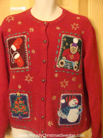 Cheesy Christmas Jumper Sweater Crafty Patchwork Cuteness