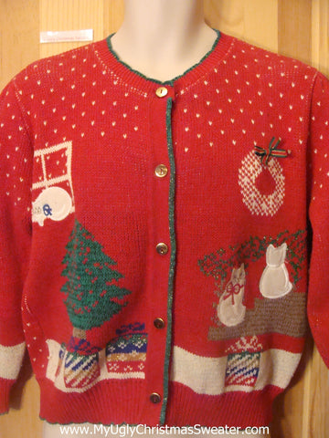 80s Cheesy Christmas Jumper Sweater with Cats