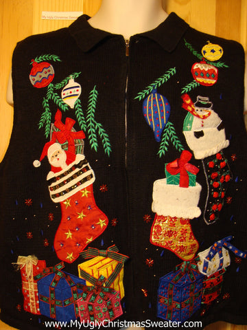 Tacky Ugly Christmas Sweater Vest with 3D Bows (f270)