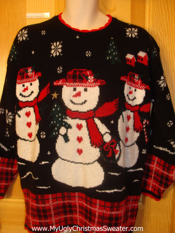 Cheesy 80s 2sided Christmas Jumper Sweater with Snowmen