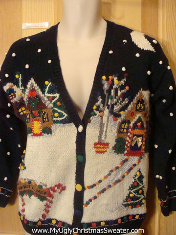 Gingerbread Village 80s Style Ugly Christmas Sweater