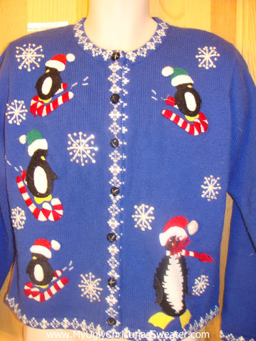 Penguin Skiing on Candycanes Cheesy Christmas Sweater