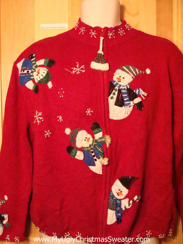Tacky Ugly Christmas Sweater with Tumbling Snowmen on Front and Back (f271)