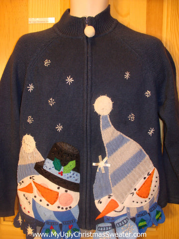 Cheesy Christmas Sweater Huge Snowman with Mittens
