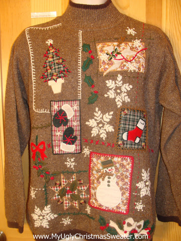 Cheesy Brown Christmas Sweater Patchwork Mess