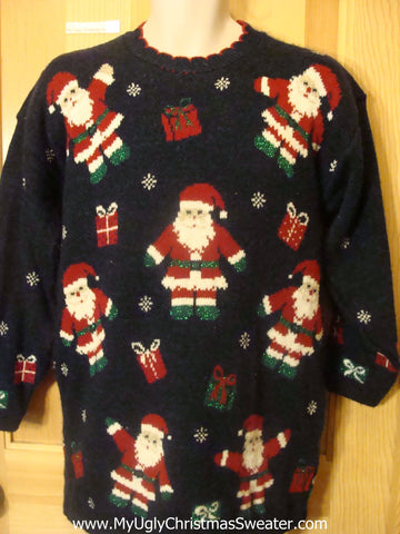 80s Cheesy Christmas Jumper Sweater with Santa