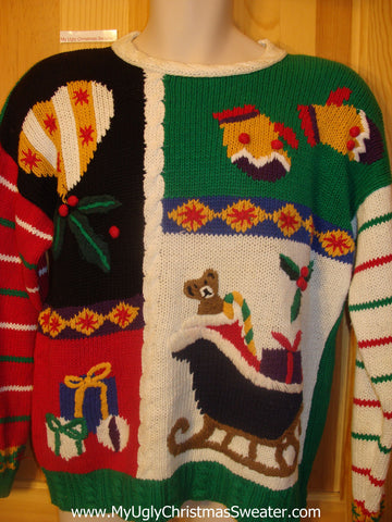 Cheesy 80s Christmas Sweater Padded Shoulders