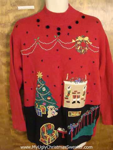 Cheesy Red Christmas Jumper Sweater Scary Dream