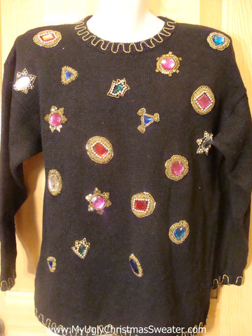 80s Cheesy Christmas Sweater with Massive Bling Gems