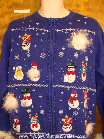 Cheesy Christmas Jumper Sweater Fluffy Snowmen