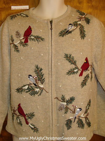 Cheesy Christmas Jumper Sweater with Cardinal Birds