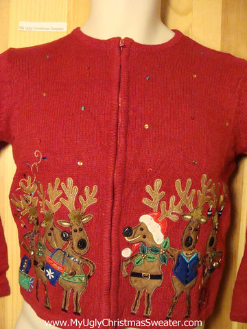 Child Size Tacky Ugly Christmas Sweater with Dancing Reindeer (f273)