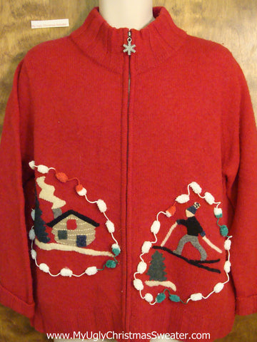 Vintage Style Ski Themed Cheesy Christmas Sweater