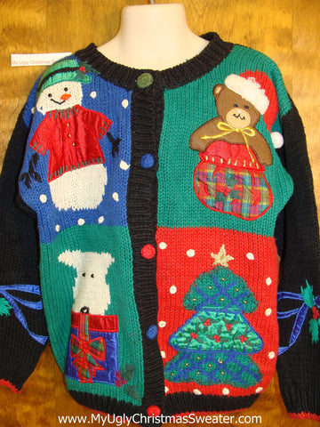 Child Size Cheesy Christmas Jumper Sweater with Dog