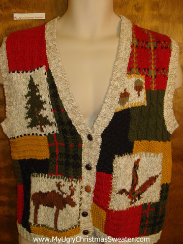Horrible 2sided Patchwork Christmas Vest with Reindeer