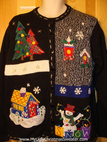 Tacky Ugly Christmas Sweater Nighttime Winter Wonderland with Snowman (f274)