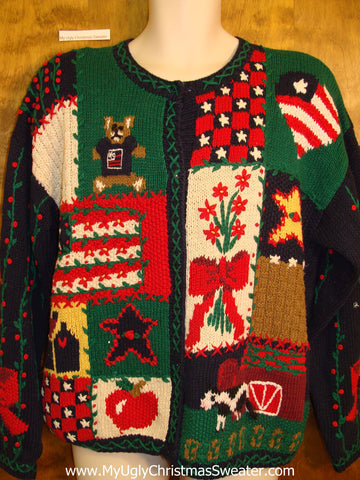 Patriotic Patchwork Cheesy Christmas Jumper Sweater