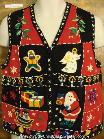 Colorful Patchwork Cheesy Christmas Jumper Sweater Vest