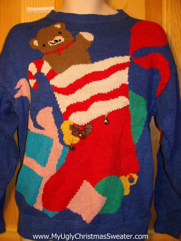 Tacky Ugly Christmas Sweater 80s Old-School Bold Style with Bear in Stocking (f275)