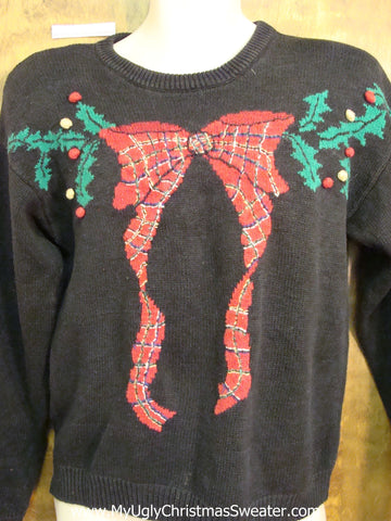 Plaid Bow and Ivy 80s Cheesy Christmas Jumper Sweater