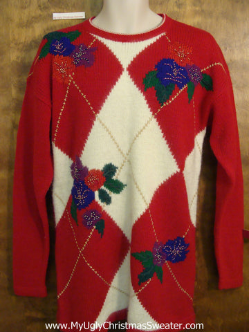 80s Acrylic Red Cheesy Christmas Jumper Sweater