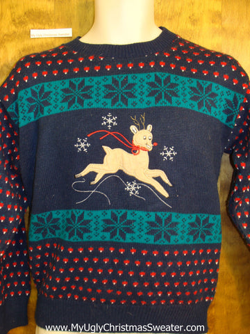 Cheesy Vintage 80s Christmas Jumper Sweater with Reindeer