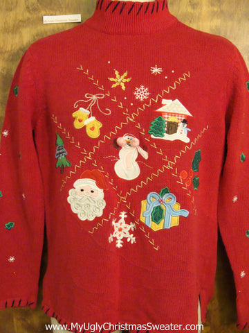 Red Cute as a Button Cheesy Christmas Jumper Sweater