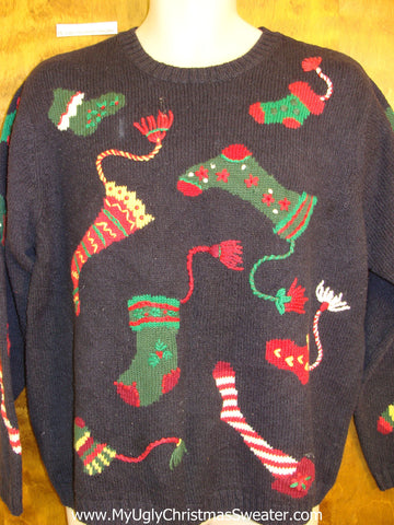 Crazy Toppling Stockings Cheesy Christmas Jumper Sweater