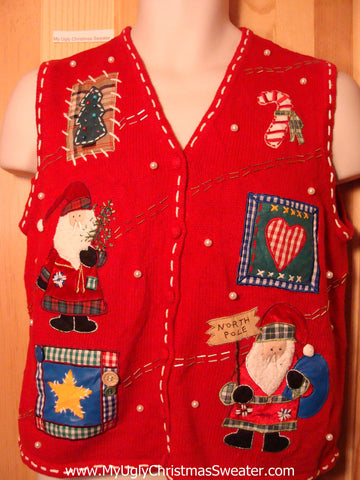 Tacky Ugly Christmas Sweater Vest with Crafty Santas and Hearts (f276)