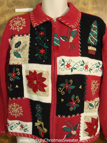 Crafty Poinsettias Cheesy Christmas Jumper Sweater