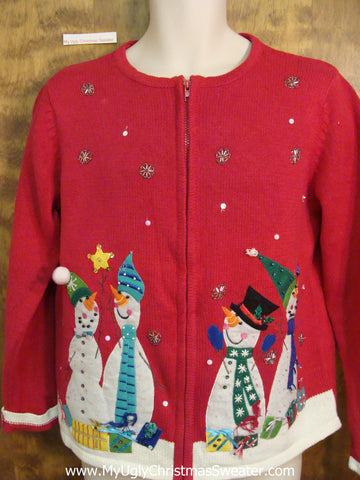 Carrot Nosed Snowmen Cheesy Christmas Jumper Sweater