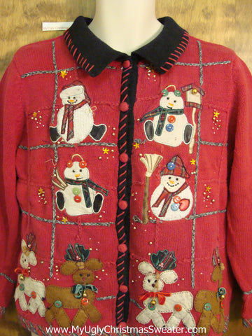 Buttons and Bling Cheesy Christmas Jumper Sweater