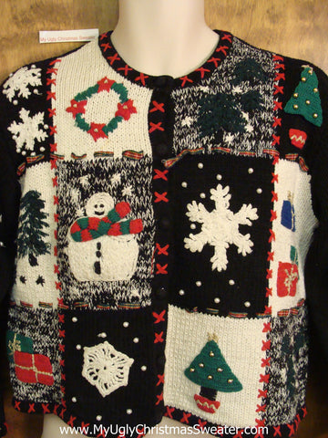 Crafty 2sided Patchwork Cheesy Christmas Jumper Sweater