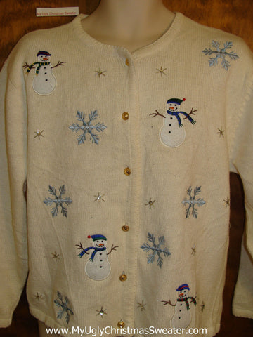 Cheesy Christmas Jumper Sweater Cardigan with Snowmen