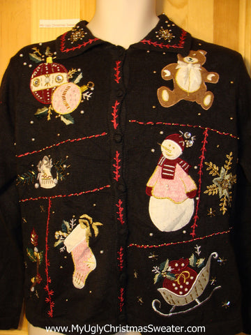 Tacky Ugly Christmas Sweater with Bead and Gold Embroidery Bling (f278)