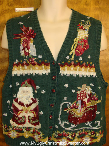 Cheesy Green 80s Christmas Sweater Vest
