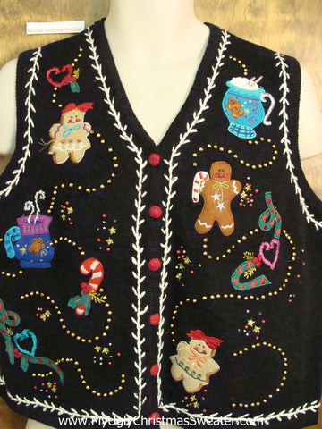 Gingerbread Men and Cocoa Tacky ChristmasSweater Vest