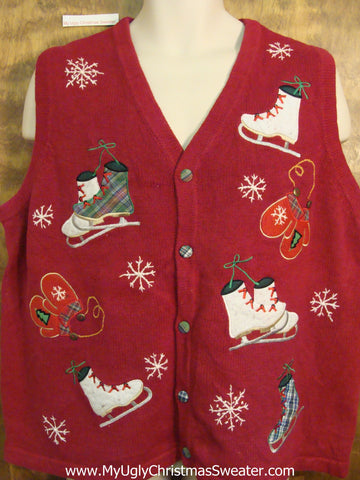 Skates and Mittens 2sided Christmas Jumper Sweater Vest