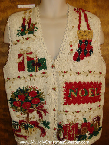 Cheesy 80s Ornate Christmas Sweater Vest