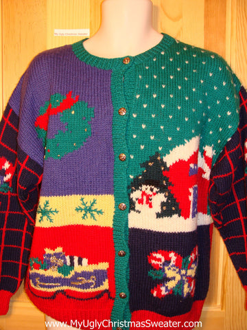Tacky Ugly Christmas Sweater Old-School 80s Classic 2sided Bright and Festive (f279)